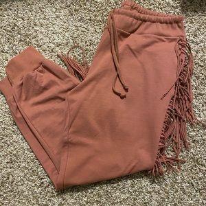 Kittenish Pants & Jumpsuits - NWOT Kittenish Fringe Joggers